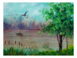 Person in Small Boat on River, Birds Soar Giclee Print by Rich LaPenna