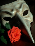 Still Life Photograph, a Traditional Venetian Mask with a Rose Photographic Print by Images Monsoon