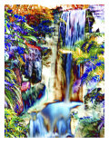 Waterfall in Glorious Tropical Color Reproduction procédé giclée par Rich LaPenna