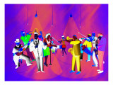 Impressionist Ethnic Big Band Performing on Golden Stage Giclee Print by Rich LaPenna