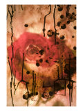 Red Rose Through Paper with Ink Drawing Giclee Print by Daniel Root