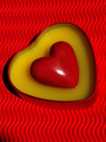 A Love Stone Heart with Red Background Photographic Print by Abdul Kadir Audah