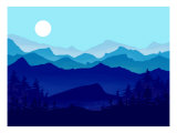 Blue Mountains, Evergreens and the Blue Moon Giclee Print by Rich LaPenna
