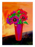 Flowers in Vase Illustration Giclee Print by Rich LaPenna