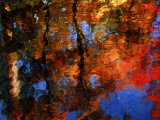 Reflection of Red Maples and Blue Sky in Creek, Sedona, Arizona, USA Photographic Print