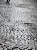Person's Feet Walking Down Cobblestone Street in Rome, Italy Photographic Print by Andrea Sperling