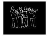 Neon Horn Band New Orleans Style Wydruk giclee autor Rich LaPenna