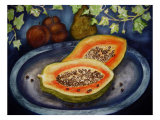 Assorted Fruit, Papaya, Plum, Pear Presented on Blue Platter Covered with Ivy Giclee Print by Emiko Aumann