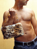 Shirtless Man Carrying an Animal Print Purse Photographic Print by Steve Cicero