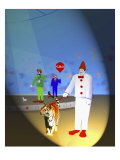 Three Clowns a Tiger and a Dog Giclee Print by Rich LaPenna