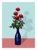 Four Red Roses in Blue Vase Giclee Print by Rich LaPenna