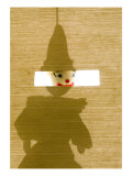 Silhouette of a Sock Puppet Peeking Through a Screen Giclee Print by Daniel Root