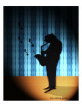 Silhouette of Saxophone Player Giclee Print by Rich LaPenna
