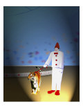 Nick the Clown Led by Tiger Giclee Print by Rich LaPenna