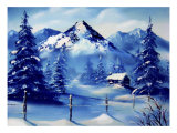 Snowy Mountains with Peaceful Cabin Giclee Print by Rich LaPenna