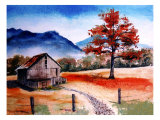 Kentucky Barn with Blue Mountains in Background Giclee Print by Rich LaPenna