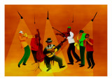Band Jamming under Lights Giclee Print by Rich LaPenna