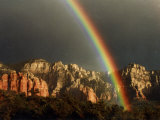 Rainbow over Crimson Cliffs, Sedona, Arizona, USA Photographic Print by Margaret L. Jackson