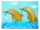 Banana Dolphins Giclee Print by Emiko Aumann