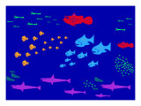 Schools of Many Different Kinds of Fish Giclee Print by Rich LaPenna