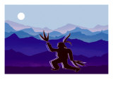 Moon Dancer Paying Homage to the Moon and Earth Giclee Print by Rich LaPenna