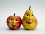 Paper Apple and Pear with Faces Photographic Print by Winfred Evers