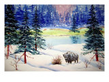 Bison in Wintery Snow Scene Giclee Print by Rich LaPenna
