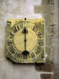 Old Stone Clock on Wall of Old Building Photographic Print by Diane Miller