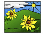Stained Glass Sunflowers in the Sun Giclee Print by Rich LaPenna
