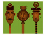 Men and Women Totem in African Masks Giclee Print by Rich LaPenna