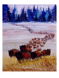 Large Herd of Bison Cross a Vast Plain Giclee Print by Rich LaPenna
