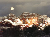 Moon Above Snow-Covered Boynton Canyon, Sedona, Arizona, USA Photographic Print by Margaret L. Jackson