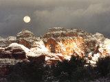 Moon Above Snow-Covered Boynton Canyon, Sedona, Arizona, USA Photographic Print