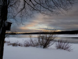 Birdhouse at Sunset by West Lake, Danbury, Connecticut Photographic Print by Eric Gottschalk