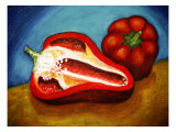 Ed Bell Peppers on Cutting Board Giclee Print by Emiko Aumann
