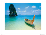 Tropical Beach with Long Tail Boat, Phuket, Thailand Prints