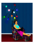 Woman Lounges under Lights with Poodle in Beauty Salon Giclee Print by Rich LaPenna