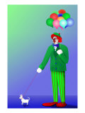 Clown Holding Balloons and Dog on Leash Giclee Print by Rich LaPenna