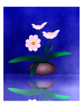 Floral Arrangement of Orchid in Vase Partly Reflected Giclee Print by Rich LaPenna