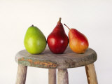 Still Life of 3 Pears on a Milk Stool Photographic Print by Diane Miller