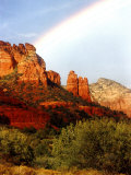 Partial Rainbow over Red Rocks with Bluish Sky, Sedona, Arizona, USA Photographic Print by Margaret L. Jackson