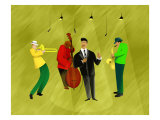 Jazz Band in Spotlights Giclee Print by Rich LaPenna