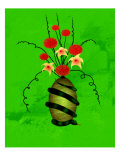 Floral Arrangement in Vase on Which a Snake Is Coiled Giclee Print by Rich LaPenna