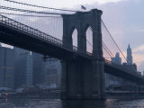 Sunset Behind the Brooklyn Bridge and Manhattan on a Humid Summer Evening Photographic Print by John Nordell
