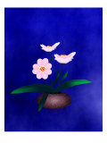 Pink Flower in Vase on Blue Background Giclee Print by Rich LaPenna