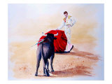 Matador Holds Red Cape Up to Bull Reproduction procédé giclée par Rich LaPenna