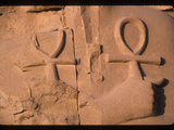 Stone Carvings of Ankh, Symbols of Eternal Life, and a Hand Photographic Print by Martin Gray