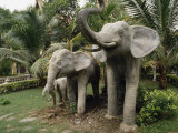 Family of Large Stone Elephants in a Park Photographic Print by  xPacifica