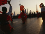Women Exercise in the Morning by Fan Dancing on the Bund Photographic Print by  xPacifica