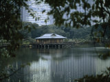 View across a Seawater Pond and a Teahouse in Hamarikyu Gardens Photographic Print by  xPacifica